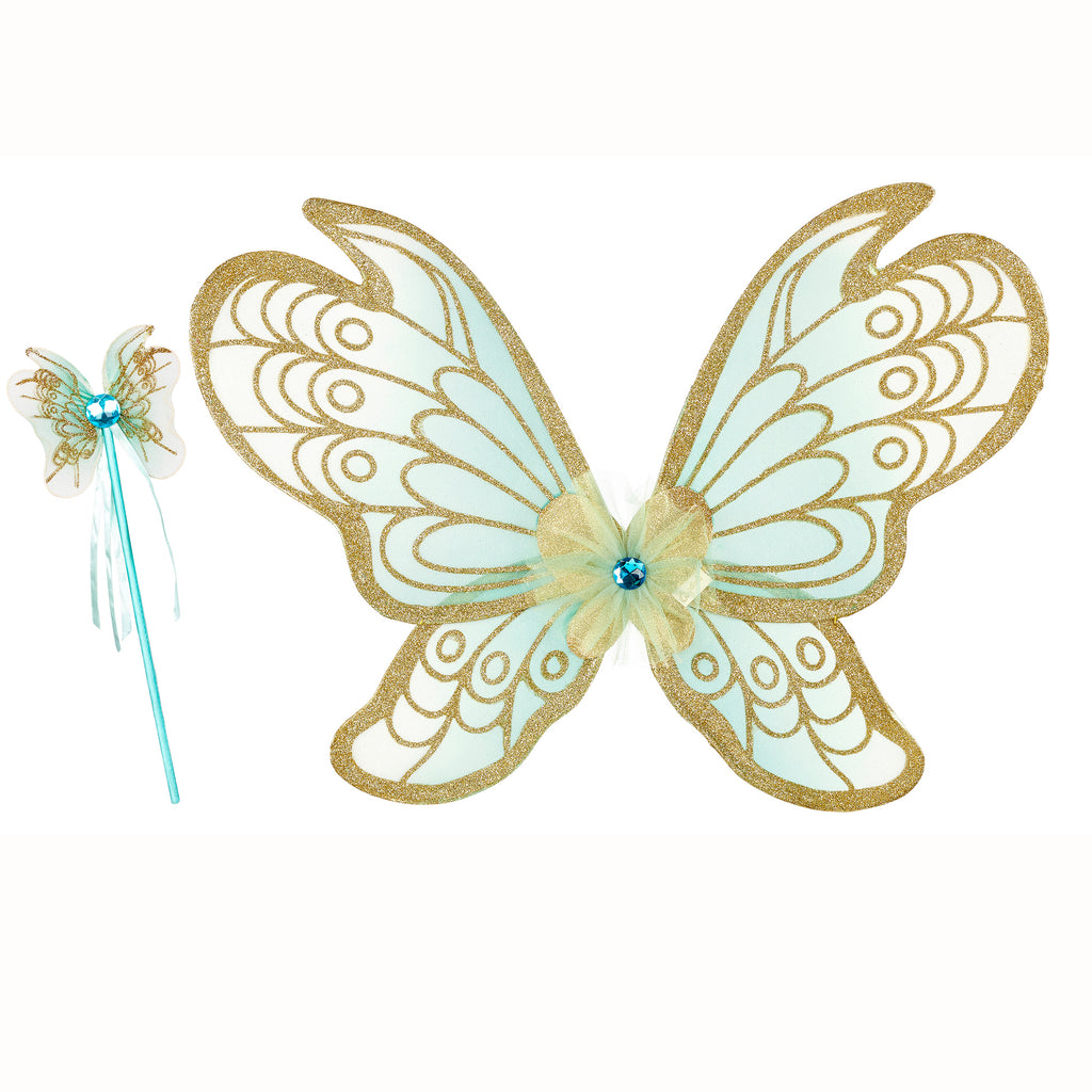 Aqua Glitter Wings & Wand Set