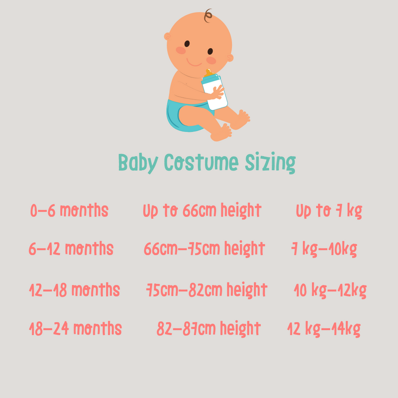 Baby Lion Costume size chart
