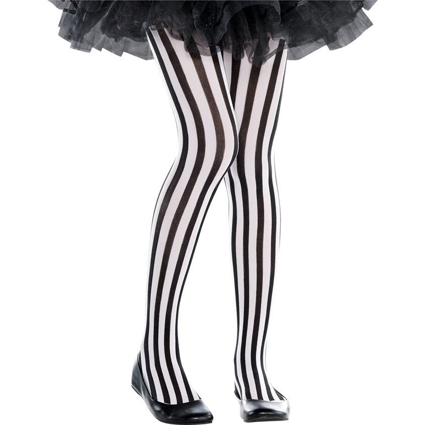 Stripy Tights- Black and white