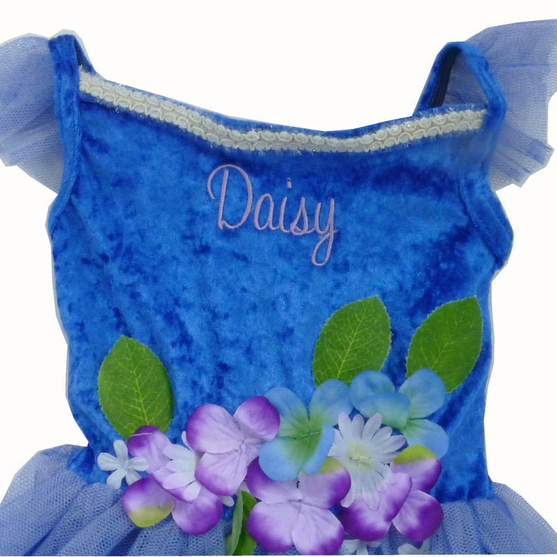 Children's Blue Flower Fairy Dress- Personalised