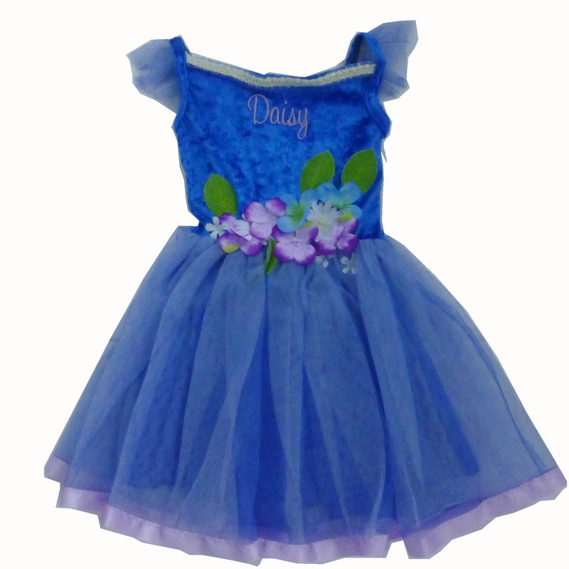 Blue Flower Fairy Dress , Children's Costume - Personalised Gift for Girl 5
