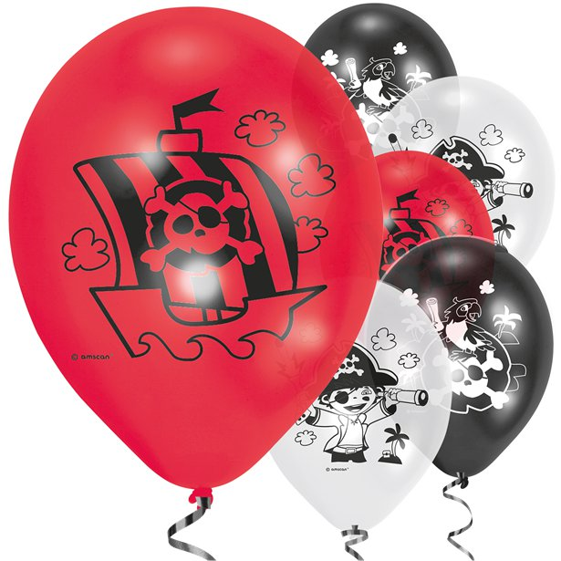 Pirate Balloons- Pk 6 Assorted Balloons - 9 inch -Captain Pirate