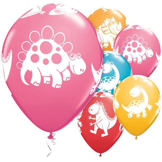 Cute Dinosaurs- Pk 6 Assorted Balloons - 11 inch