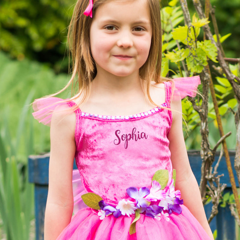 Pink Flower Fairy Dress , Children's Costume - Personalised -Gift for Girl -Time to Dress Up -1