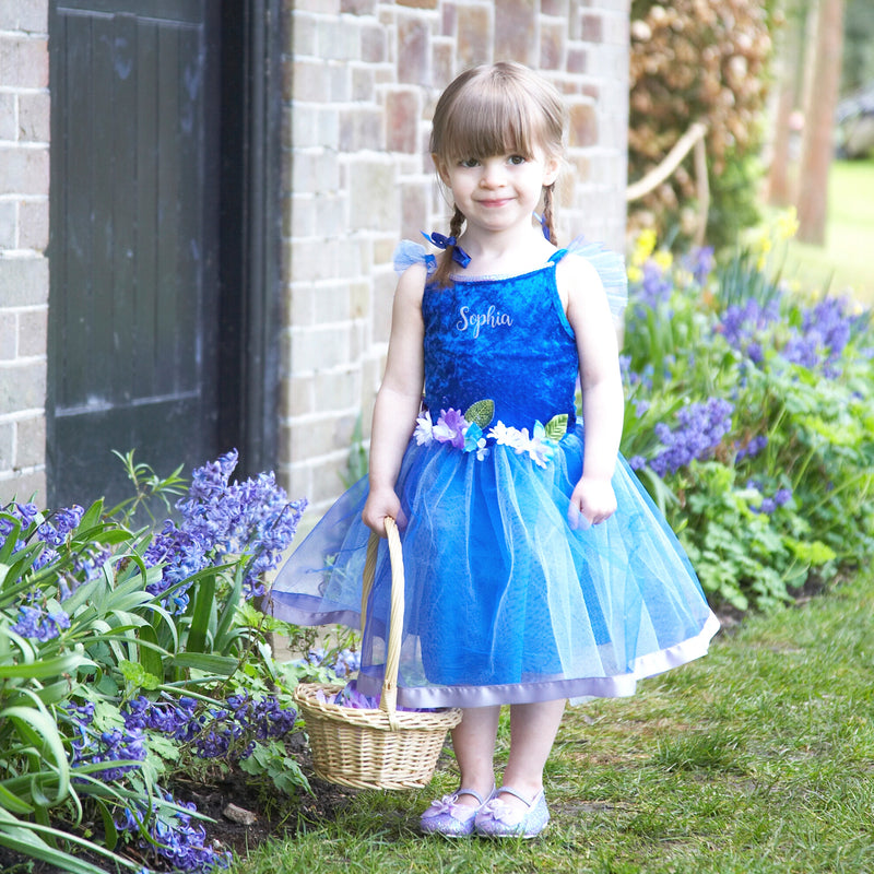 Blue Flower Fairy Dress , Children's Costume - Personalised Gift for Girl 3