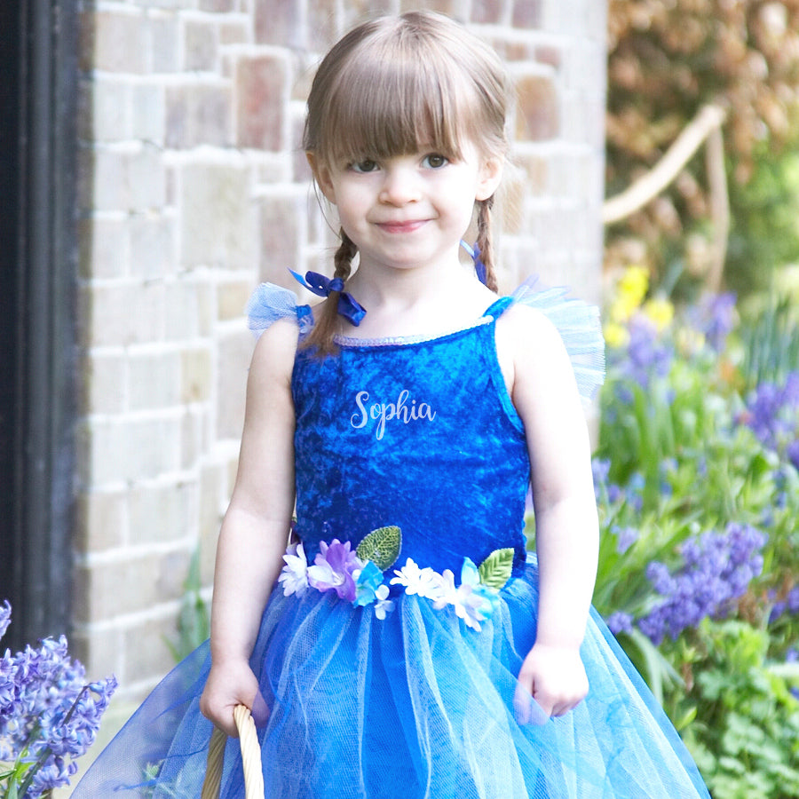 Blue Flower Fairy Dress , Children's Costume - Personalised Gift for Girl