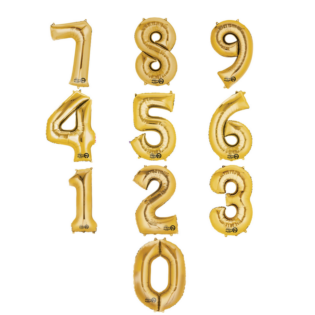 Giant Gold Foil Balloon Numbers-34 inch - Helium Filled