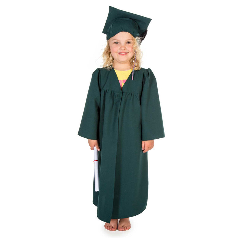 Children's Graduation Gown -Children's Costume -Gown with Mortar Board -Green
