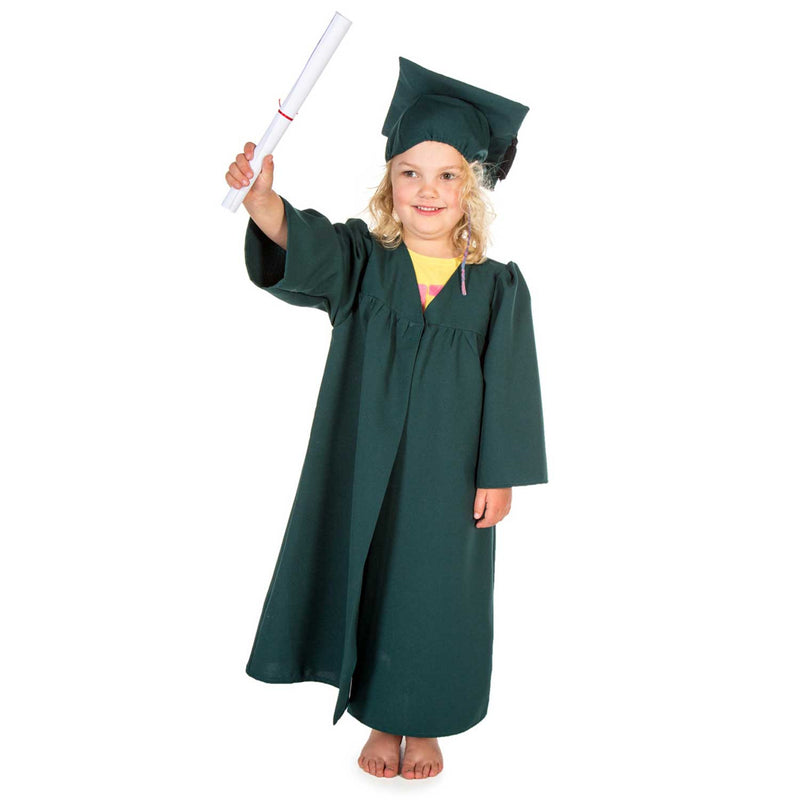 Children's Graduation Gown -Children's Costume -Gown with Mortar Board -Green -1