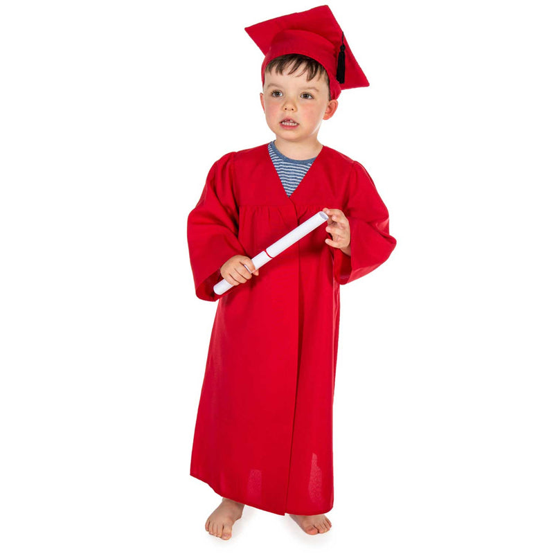 Children's Graduation Gown -Children's Costume -Gown with Mortar Board -Red