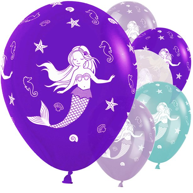 Mermaid- Pk 25 Assorted Balloons -11 inch