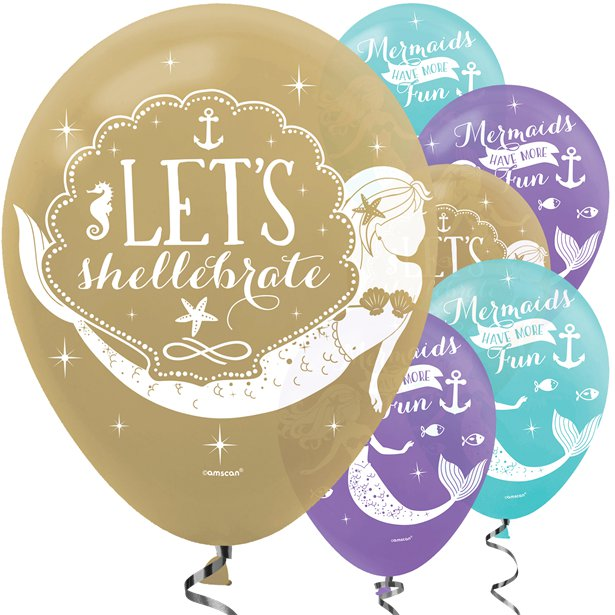 Mermaid Wishes- Pk 6 Assorted Balloons -11 inch