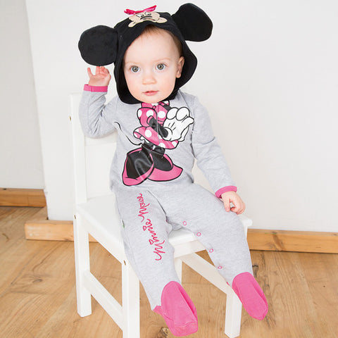 Minnie Mouse Red Grey Baby Romper with Hood - Official Disney