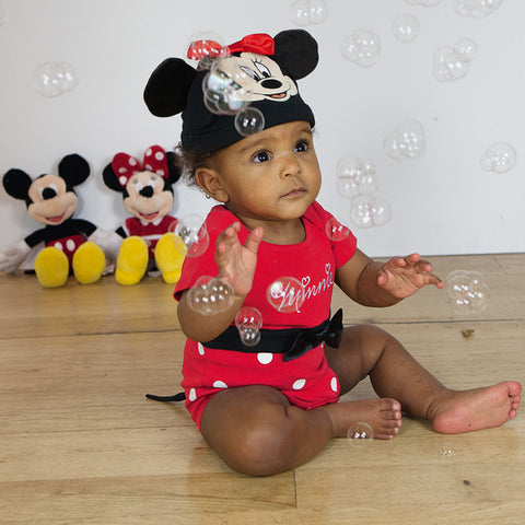 Minnie Mouse Red Baby Bodysuit with Hat Red - Official Disney