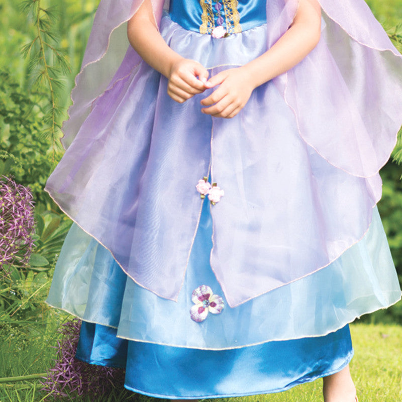 Children's Blue Orchid Flower Dress, Girl's Dress Up -Children's Costume, Travis 3
