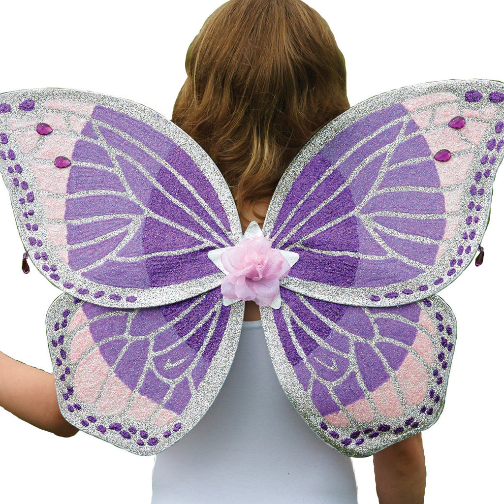 Children's Purple Glitter Wing & Wand Set , Accessories - Time to Dress Up