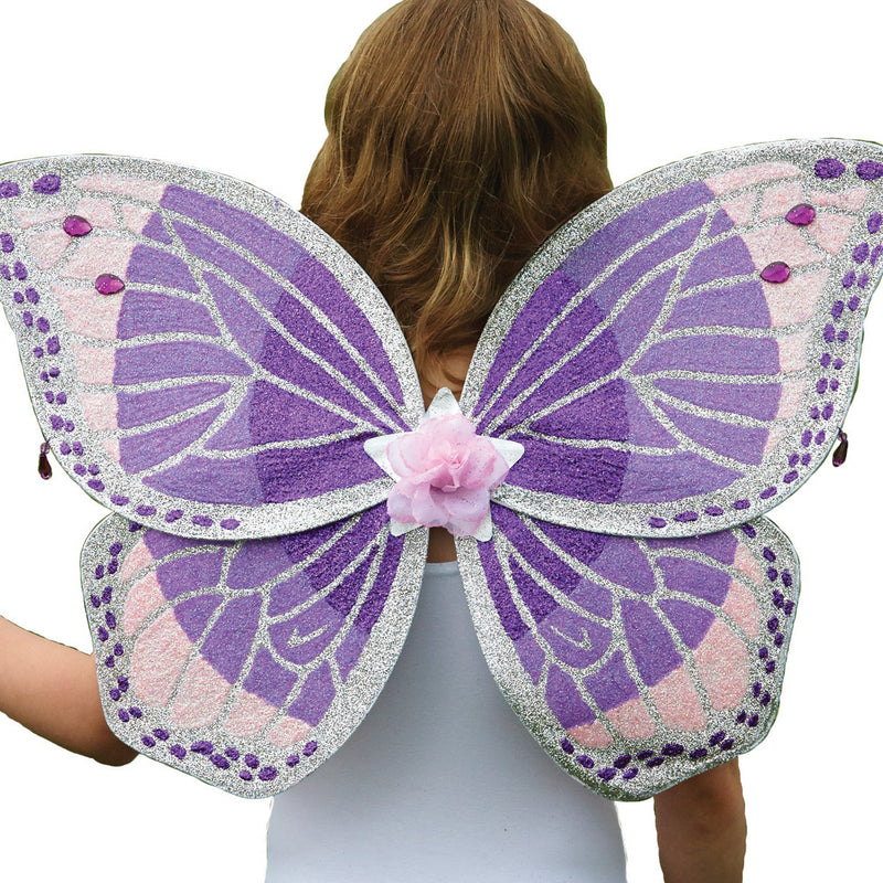 Children's Purple Glitter Wing & Wand Set , Fairy Wings - Time to Dress Up