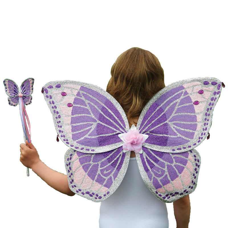 Children's Purple Glitter Wing & Wand Set , Fairy Wings, Accessories - Time to Dress Up