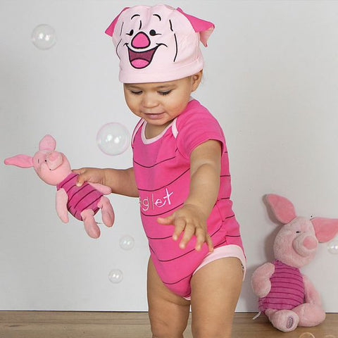 Piglet Baby Bodysuit with Hat - Official Disney