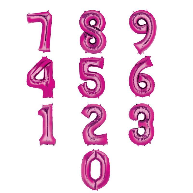 Pink Foil Balloon Numbers-16 inch/40 cm - Air Filled