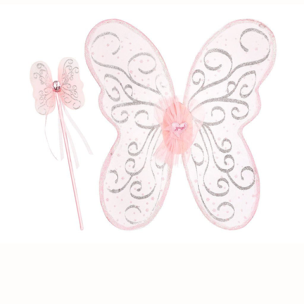 Pink Glitter Fairy Wings & Wand  Set