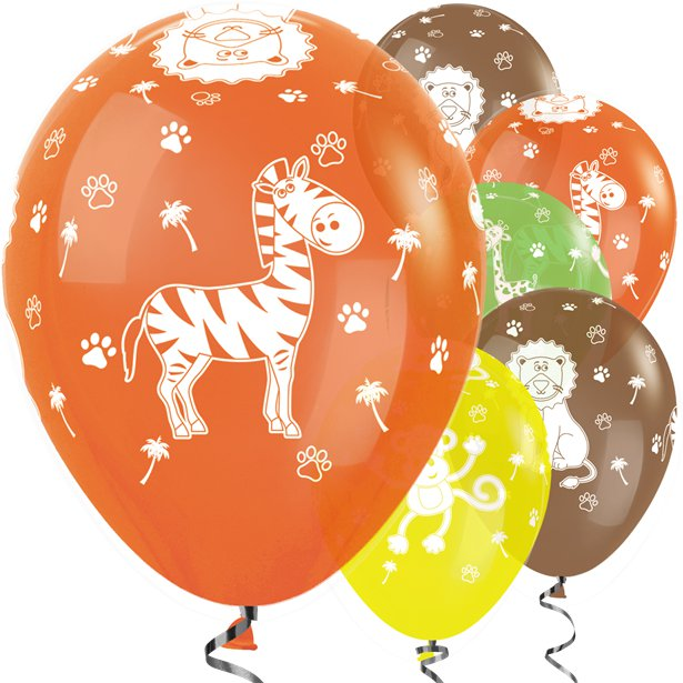 Tropical Mix Jungle Animals- Pk 25 Assorted Balloons - 11 inch