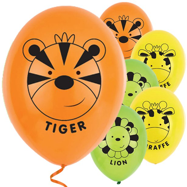 Jungle Friends- Pk 6 Assorted Balloons - 11 inch