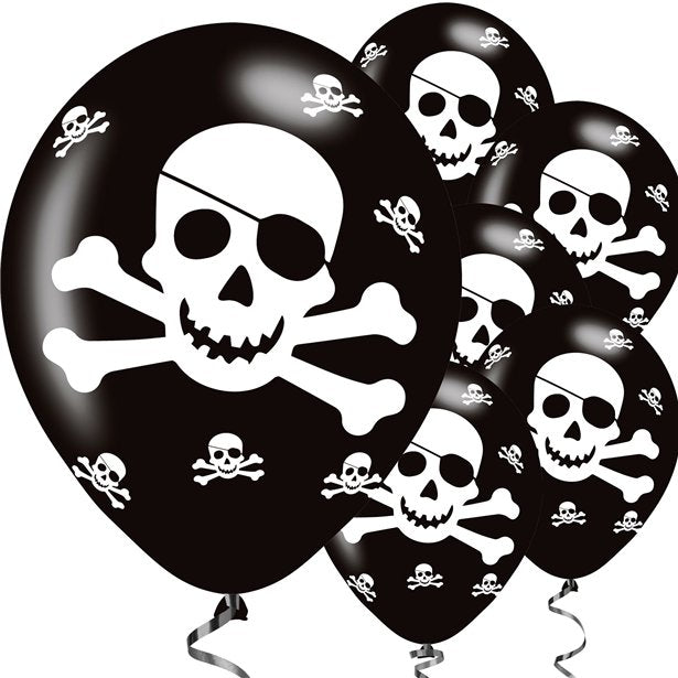 Pirate Skull and Crossbones- Pk 6 Assorted Balloons - 11 inch