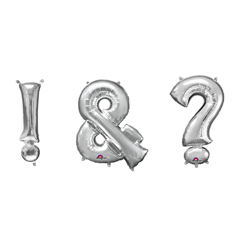 Silver Foil Balloon Numbers-16 inch/40 cm - Air Filled