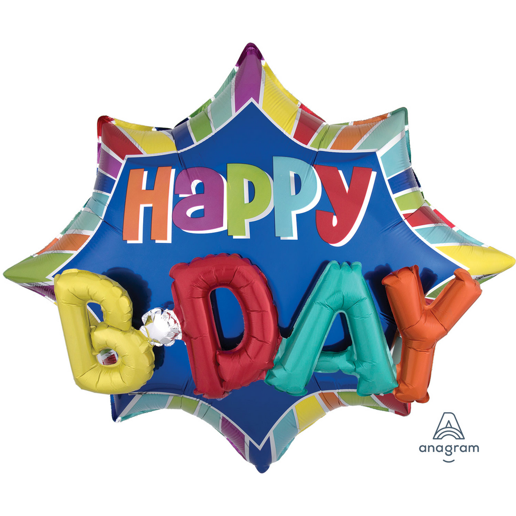 Happy Birthday 3D Supershape Foil Balloon