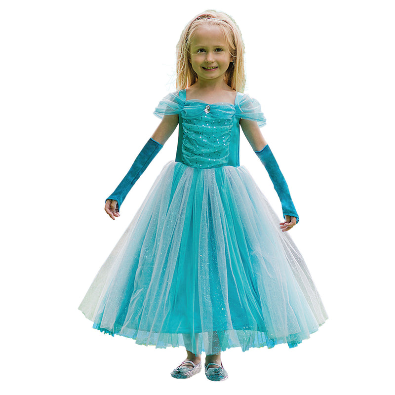 Children's Turquoise Sparkle Princess Dress , Children's Costume - Travis Designs