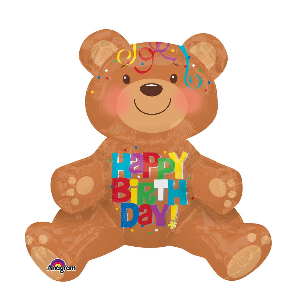 Happy Birthday Teddy Bear Foil Balloon -17 inch/43cm