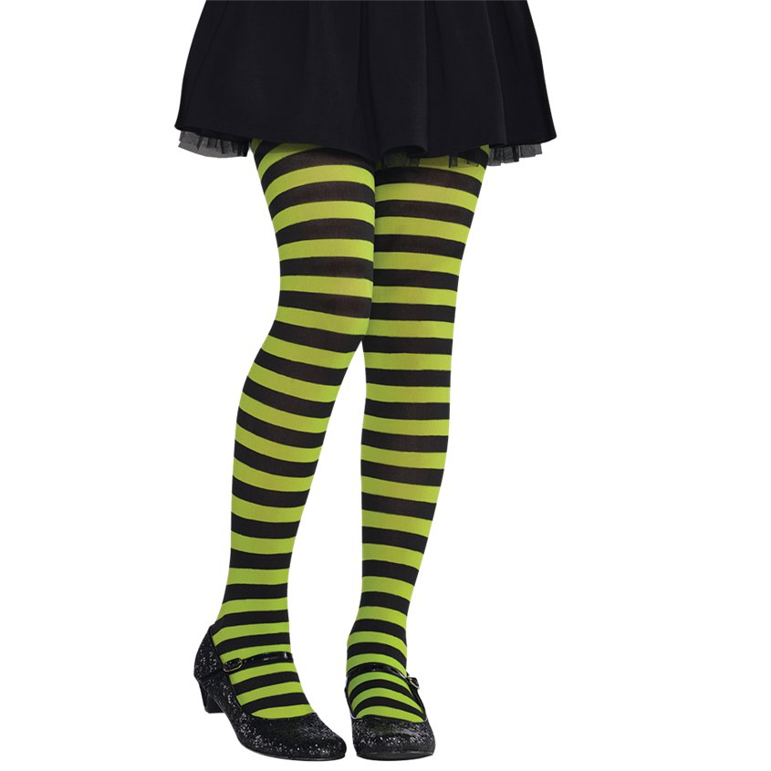 Stripy Tights- Green, Purple