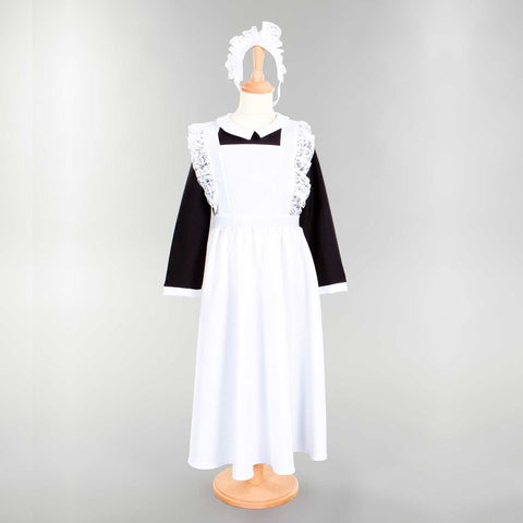 Children's Victorian Housemaid Dress With Head Dress