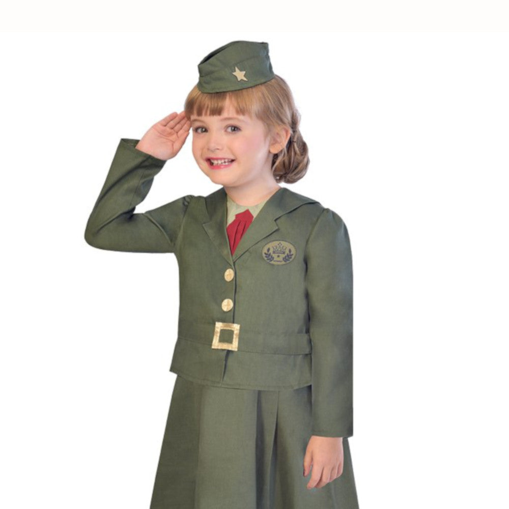 WW2 Girl Soldier Fancy Dress Costume