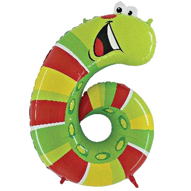 Giant Caterpillar Number 6 Balloon - Zooloons - 40 inch