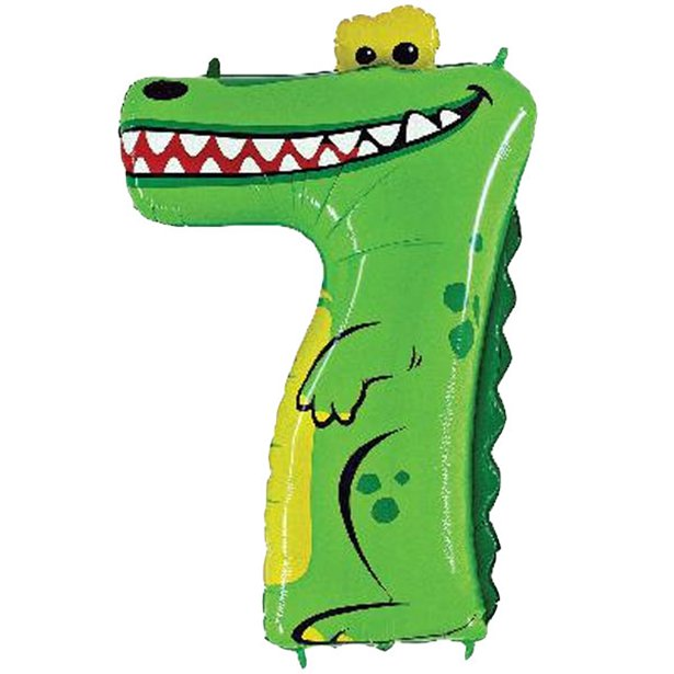 Giant Crocodile Number 7 Balloon - Zooloons - 40 inch
