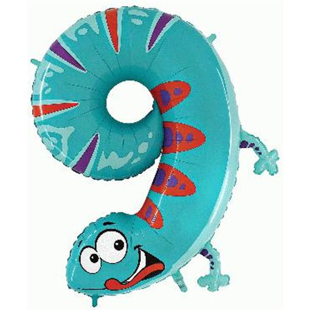Giant Gecko Number 9 Balloon - Zooloons - 40 inch