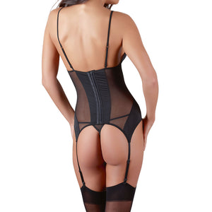 Cottelli Black Basque Suspender Set - Dressed 2 Digress Limited