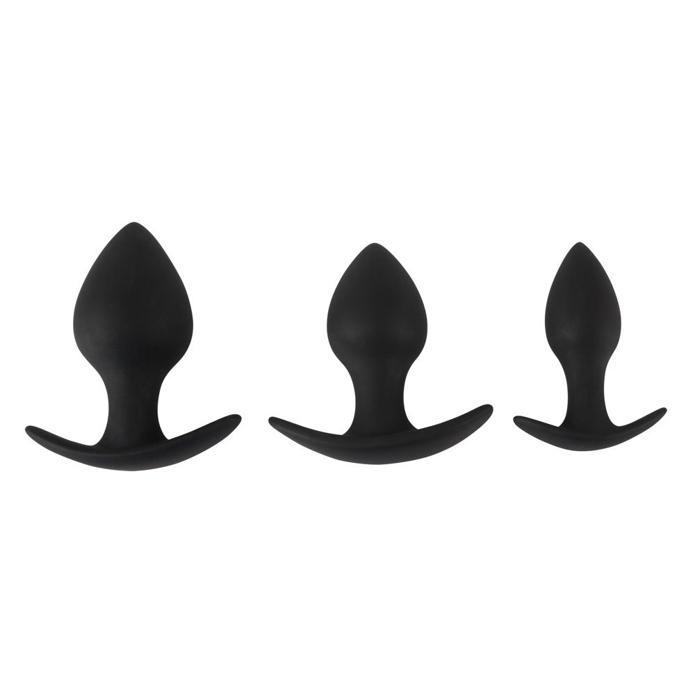 Black Velvet Silicone Three Piece Anal Training Set - Dressed 2 Digress Limited