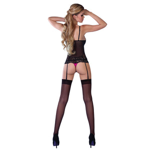 Corsetti Kagami Pink And Black Basque Set - Dressed 2 Digress Ltd