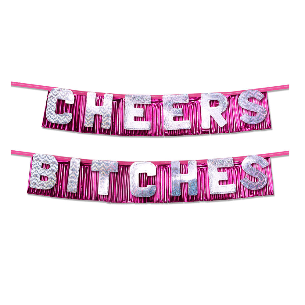 Bachelorette Party Favors Cheers Bitches Party Banner - Dressed 2 Digress Limited