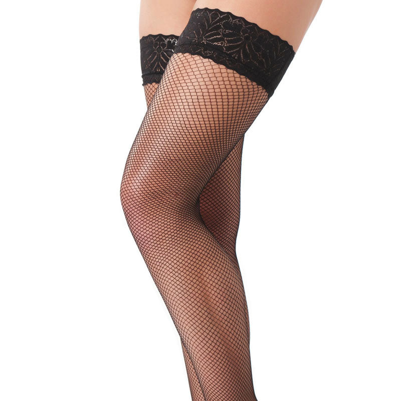 Black Fishnet Floral Hold Up Stockings - Dressed 2 Digress Limited