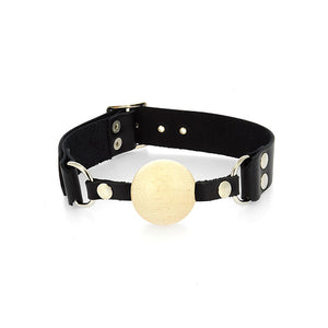 Leather Gag With Wooden Ball - Dressed 2 Digress Limited