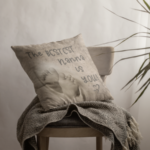 Vintage style custom cushion cover with your photo and quote