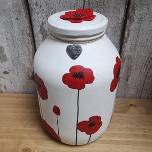 Hand painted Poppy memorial urn