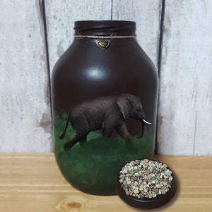 Hand painted Elephant memorial urn