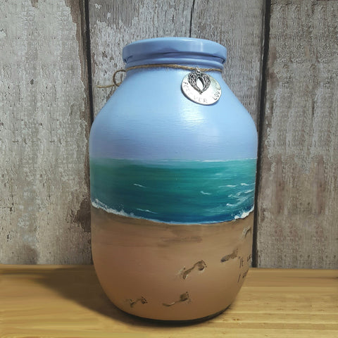Hand painted memorial urn, Footprints in the sand