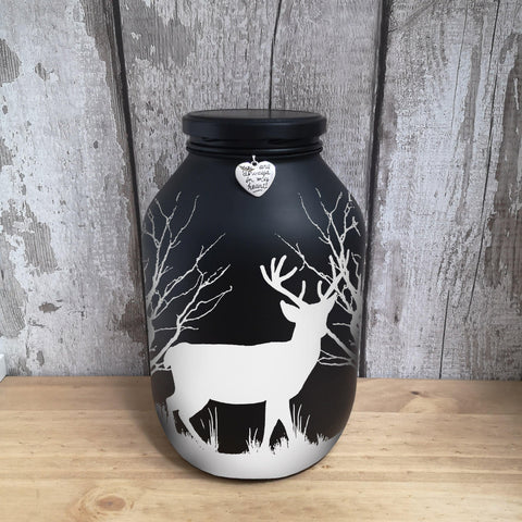 Hand painted Majestic Stag memorial urn, Black background