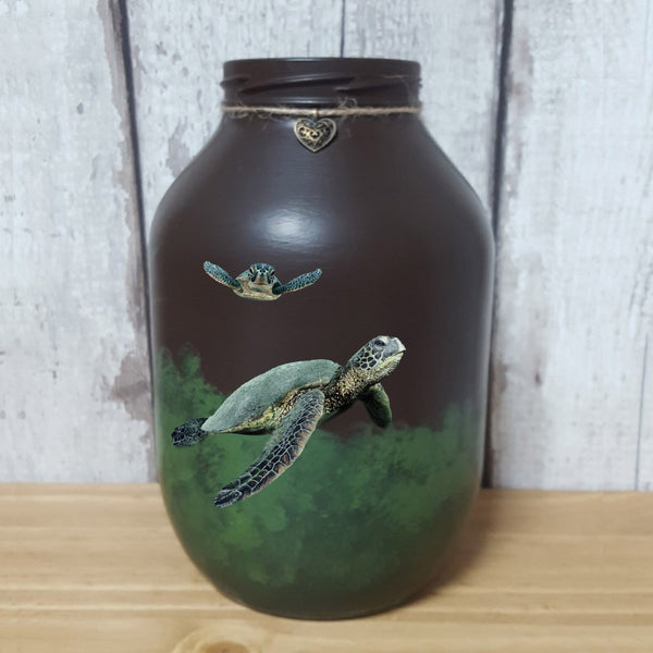 Hand painted Sea Turtle memorial urn